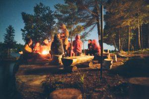 Storytelling around campfire